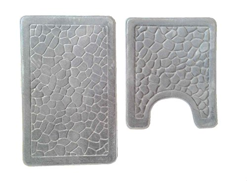 2 Piece Set Cobble Memory Foam Bath Mat-Rectangle,Contour Mat,Non Slip Soft Microfiber Maximum Absorbency,Super Comfortable (Grey-Cobble) (Memory Foam Bath Mat Set)