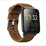 LHFJ Smart Watch Bluetooth 4.0 Fitness Watch IP67 Waterproof OLED Screen Wristwatch for iOS,Android System,Brown