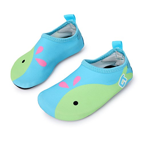 L-RUN Kids Barefoot Water Shoes Boys Girls Sports Shoes for Beach Pool Surf Yoga Exercise Light Blue 8-8.5=EU 24-25 by L-RUN
