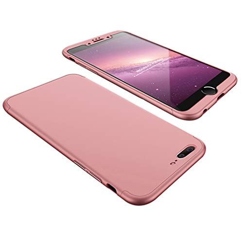 for iPhone 7 Plus 8 Plus Case, 3 in 1 PC Hard 360 Degree Full-Body Protective Anti-Scratch Hybrid Shockproof Back Cover,Rose Gold ()