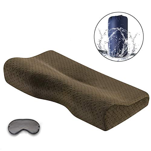 Portable Memory Foam Soft Travel Pillow Small Cervical Contour Bed Pillows for Neck Pain with Removable Washable Velvet Pillow Case,for Hotel,Business,Camping,Hiking,Backpacking,Brown Coffee ()
