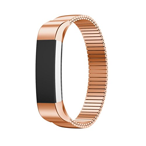 Price comparison product image For Fitbit Alta HR Smart Watch, Outsta Luxury Genuine Stainless Steel Watch Band Wrist Strap (Rose Gold)