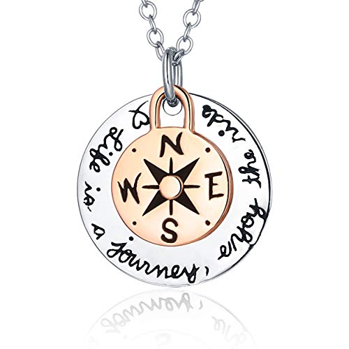 Journey Necklace Set - Life is A Journey Enjoy The Ride 14k Rose Gold Plated 316l Stainless Steel BFF Best Friend Friendship Large Compass Pendant Necklace Set for Women, 18