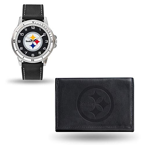 Pittsburgh Steelers Watch - Rico NFL Men's Watch and Wallet Set WTWAWA2301, Pittsburgh Steelers