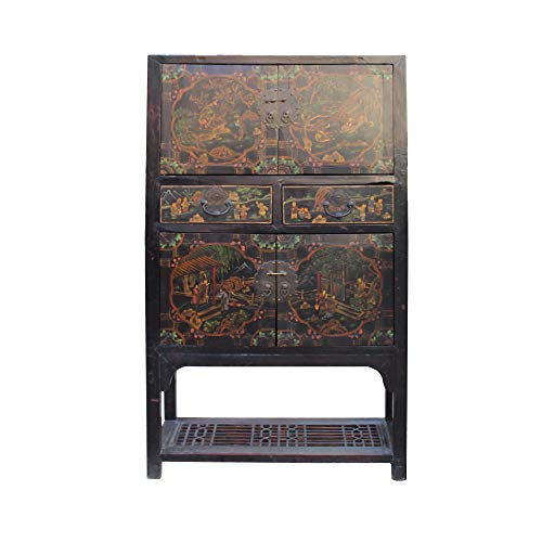 Chinese Distressed Brown People Scenery Graphic Storage Wardrobe Cabinet Acs4565 from A Large Cabinet