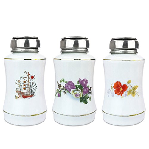 Flower Patterned Porcelain Bottle with Stainless Steel Liquid Pump (Size: 8 Oz)