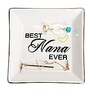 HOME SMILE Ceramic Ring Dish Decorative Trinket Plate for Grandma-Best Nana Ever