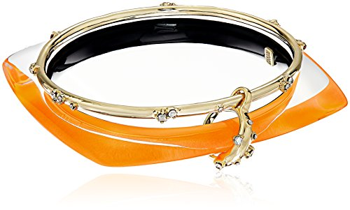 ric Linked Bangle Set with Satellite Crystal Detail Neon Orange Bangle Bracelet ()