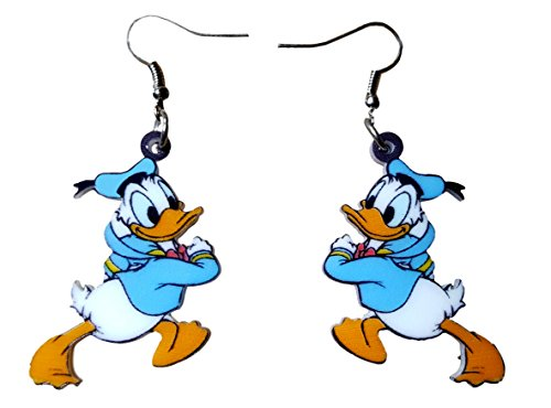 Pashal Donald and Daisy Duck Dangle Drop Earrings by (Donald Duck) (Dangle Donald Duck)