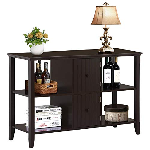 Yaheetech 3 Tier Solid Wood Buffet/Sideboard Table Console Sofa Table w/2 Grooved Cubby Storage Espresso ()