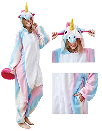 Mybei Adults Unicorn Onesie Pajamas Animal Cosplay Costume for Men Women Teens M for $<!--$12.99-->
