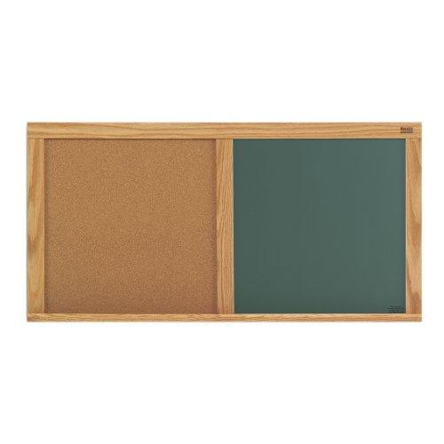 Green Chalkboard & Natural Cork Combination Board w Oak Trim (33.5 in. x 45.5 in.) for sale