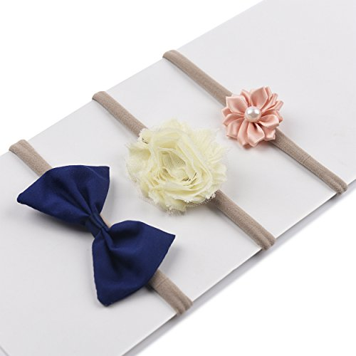 Banana Grosgrain Ribbon (Baby Girl Flower Headband | Nylon Hair Bands - Soft Elastic Design Set of 3 (Style 3))