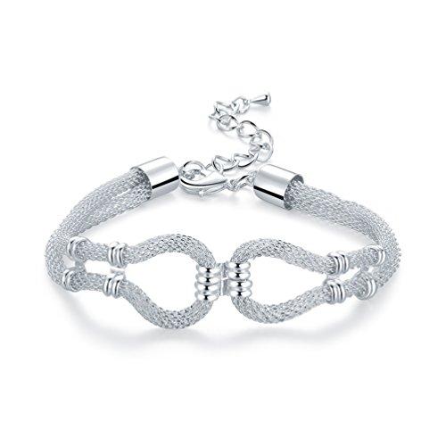 (FENDINA Women's 925 Sterling Silver Plated Stainless Steel Snake Chain Bracelets Double Strands Link)