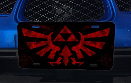 Red Triforce Aluminum License Plate for Car Truck Vehicles