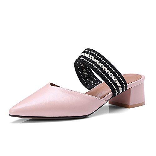 Donyyyy Baotou coole Hausschuhe und Pantoffeln für Frauen und Frauen im Sommer Light Rosa 37