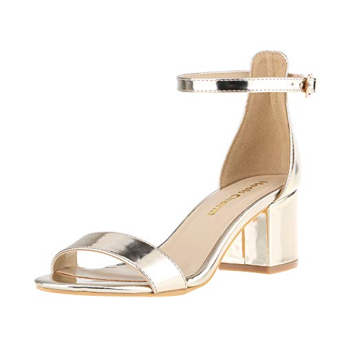 Women's Strappy Chunky Block Low Heeled Sandals 2 Inch Open Toe Ankle Strap High Heel Dress Sandals Daily Work Party Shoes Gold Size 9