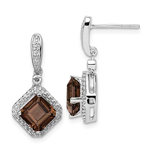 Sterling Silver Rhodium Diamond & Smoky Quartz Post Dangle Earrings (Silver Jewelry Quartz Smoky Box)