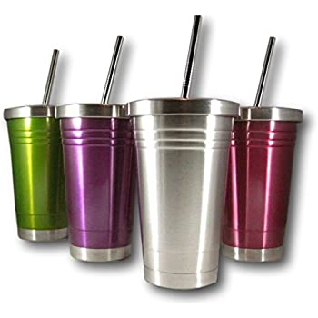 Colorful 16 Oz Stainless Steel Double Walled Insulated Tumbler and Lid and Straw by plumwood and vine (Silver)