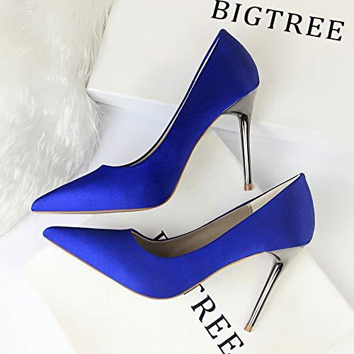 Green heels Black Women'S Heels Professional Shallow Blue Autumn High High Silk Shoes Stiletto Satin Pointed Elegant Yukun 5qtUA7
