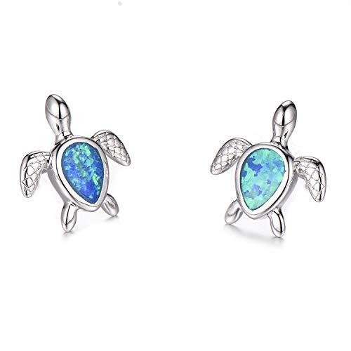 Hermosa Mom Gifts 925 Sterling Silver Sea Turtle Blue Opal Women Pendant Necklace Earrings (Earrings004-silver Blue) (Turtle Earrings Charm)