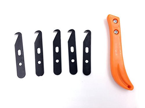 Utility Hooked Knife Steel Blade Golf Club Grip Hook Blade Knife (5pcs Blade, 1pc Knife Handle)