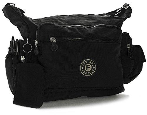 Big Handbag Shop - Bolso cruzados de tela para mujer One Negro