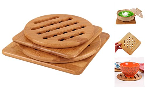 Bamboo Trivet, Weikai Home Kitchen Bamboo Hot Pads Trivet, Heat Resistant Pads Teapot Trivet, Square and Round (Multi-size, Pack of 4) (Pads Pot)