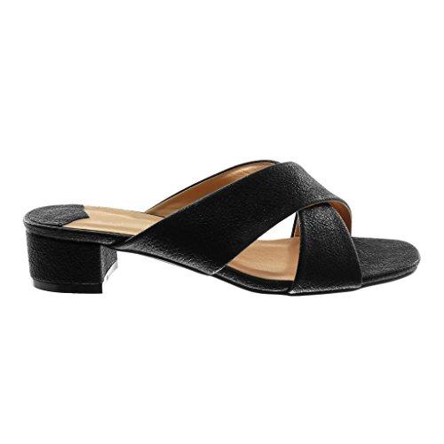 Angkorly Damen Schuhe Sandalen Mule - Slip-On - Glänzende - genarbtem Blockabsatz High Heel 4 cm Schwarz