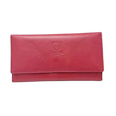 J. Wilson London RFID Blocking Ladies Designer Quality Soft Sheep Leather Purse Wallet Black (Pink) 41w8 Aq gXL