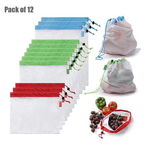 BETEVE Reusable Mesh Produce Bags Premium Washable Eco Friendly Bags with Tare Weight on Tags for Grocery Shopping Storage, Fruit, Vegetable, and Toys (Set of 12 PCS)
