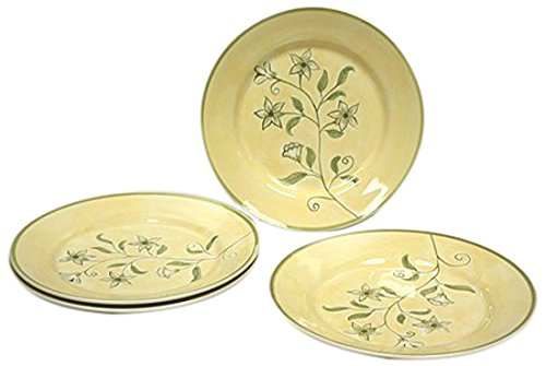 Hues & Brews 4 Piece Flora Ceramic Plate Set