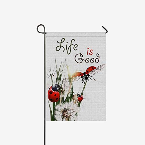 ArneCase Garden Flag Double Sided Printed Ladybug Life is Good 12 x 18 inch Home Decorative Ladybirds Dandelions Flowers House Banner Outdoor Flag Yard Decor