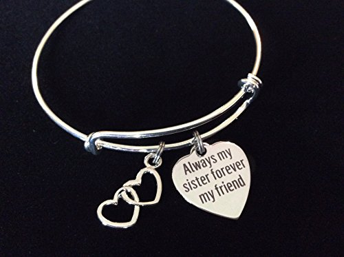 Always my Sister Forever My Friend Adjustable Expandable Silver Plated Bangle Bracelet