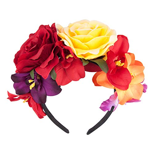 Gorse Mexican Headband Frida Kahlo Mexican Flower Crown Day of The Dead Headpiece for Party Costume Dia de Los Muertos(11 flowers) -