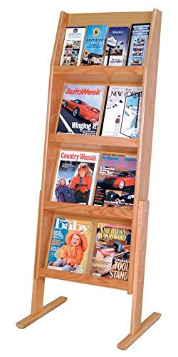 Wooden Mallet Slope 16 Pocket Standing Literature Display 4Hx4W, Light Oak (Media Unit Light Oak)
