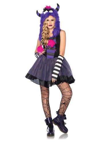Leg Avenue Costumes 3Pc.Punky Dress Arm Warmers Mohawk Monster Hood, Black/Purple, (Monster Leg Warmers)