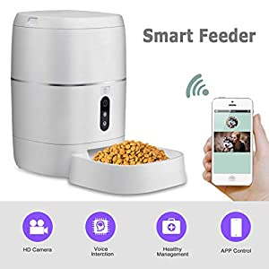 LeeKooLuu SmartFeeder,Automatic Pet Feeder Smart Dog Cat Dispenser with Pet Bowl, Timer Programmable HD Camera for Voice and Video Recording,Wi-Fi Enabled App for iPhone and Android