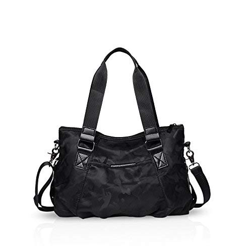 - NICOLE&DORIS Women Tote Handbags Shoulder Bag Crossbody Bag Travel Bag Satchel Large Capacity Lightweight Waterproof Nylon Camouflage Black