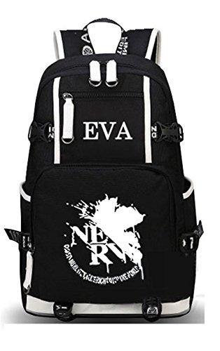 YOYOSHome Luminous Anime EVA Neon Genesis Evangelion Cosplay Bookbag College Bag Backpack School Bag (Black 1)