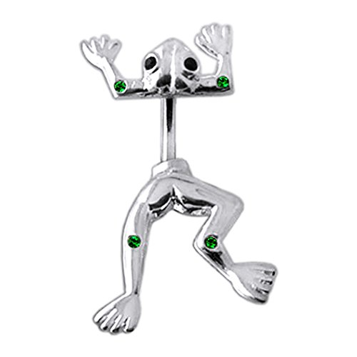 Emerald Green Multi Crystal Stone Jumping Frog 925 Sterling Silver Double Side Belly Button Ring Jewelry