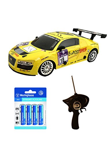 Best Christmas Gifts, Amazing Audi Inspired RC Sports Race Drift Car (Yellow) w/ 2 extra tires and 8 AA Alkaline Batteries,Stocking Stuffers, Birthday & Christmas Gift Ideas for Boys - Age 3 and Up