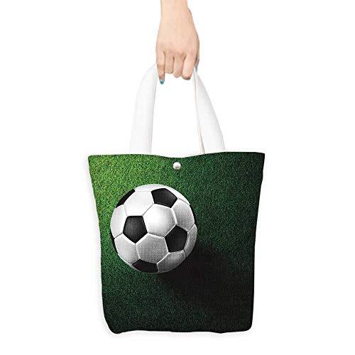 (Custom Shoulder Bags soccer football on grass field Birthday Present Gift W16.5 x H14 x D7 INCH)
