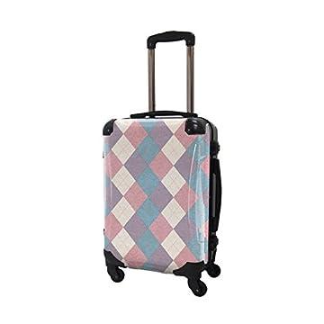CARART(キャラート) アートスーツケース アーガイルツイスト スタンダードタイプ 機内持込 CRA01H-036B ラベンダー×ピンク×ブルー