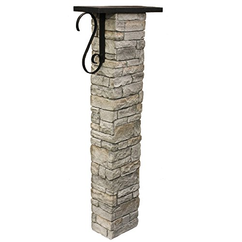 Eye Level Gray Cast Stone Mailbox Post with Decorative Scroll