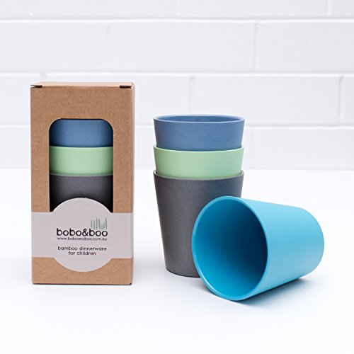 Bobo&Boo Bamboo Kids Cups 10oz, Set of 4 Drinking Cups for Kids, Eco Friendly Toddler Cups Without Lids ~ Non Toxic & Reusable ~ Great Gift for Baby Showers, Birthdays & Preschool Graduations, Coastal