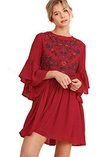 BoHo Bliss! Embroirdered Bell Sleeve Dress (small, strawberry)]()