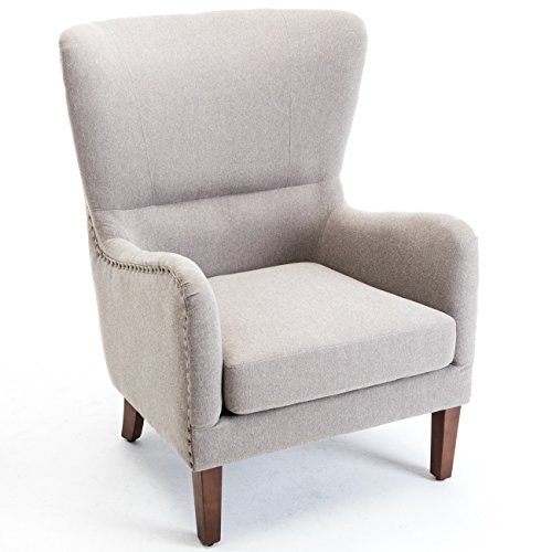 (Belleze Mid-Century Wingback Chair Nailhead Trim Living Room Arm Club Armchair High Back Cushion, Gray)