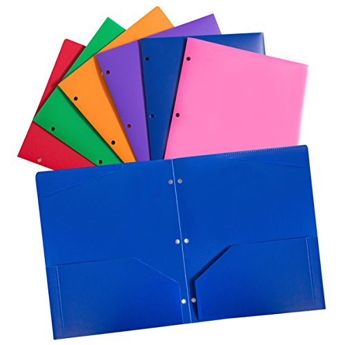 Plastic pocket folders with 3 hole,heavy duty star folders ,Assorted Colors ,Pack of 6 by Offimate