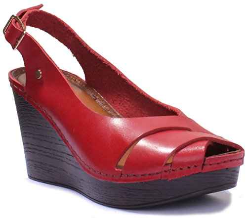 Justin Reece 7820 - Sandalias de Vestir de Piel Para Mujer Red